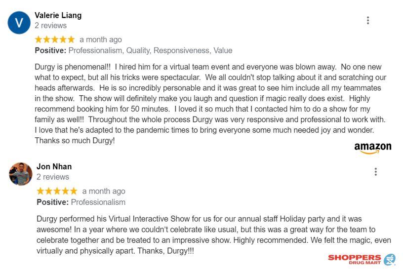 reviews for Virtual Magic of Toronto Magician Durgy Spade